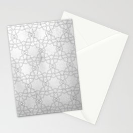 Silver and gray geometric pattern metallic look Stationery Cards