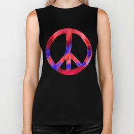Patriotic Peace Sign Tie Dye Watercolor Biker Tank
