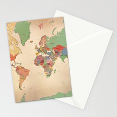 Mercator Map Modern Stationery Cards