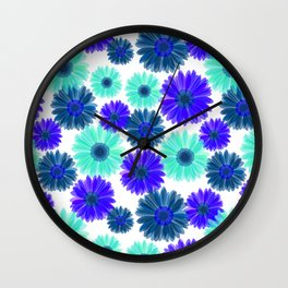 Aqua Purple Blue Sunflowers Gerbera Daisy Bold Flower Pattern on White Wall Clock