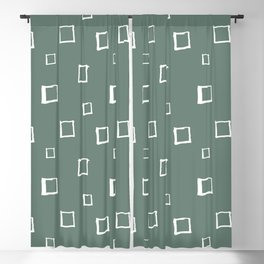 Hand Drawn Abstract Square Pattern - Viridian Green Blackout Curtain