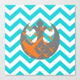 Wraith Squadron and Chevrons in Blue, Gray and Orange Canvas Print