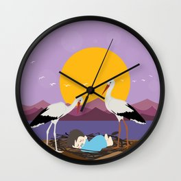 Courier adopted baby Wall Clock
