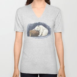 Sleeping polar bear, watercolor art Unisex V-Neck