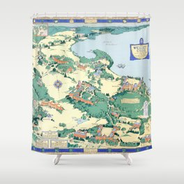 WELLESLEY College map MASSACHUSETTS dorm decor graduate Shower Curtain