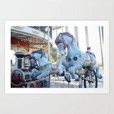 Paris Carousel Merry Go Round Horses - Baby Boy Blue Nursery Decor Art Print