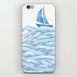 Blue sailboat, watercolor nautical ocean waves sea iPhone Skin