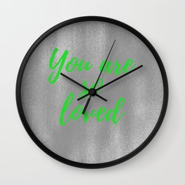 You are So Loved - Silver and Green Wall Clock