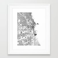 chicago map Framed Art Prints featuring Chicago map by Maps Factory