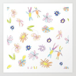 Flowers and Rabbits by Rali Art Print
