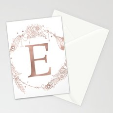 Letter E Rose Gold Pink Initial Monogram Stationery Cards