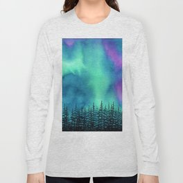 """Wilderness Lights"" Aurora Borealis watercolor landscape painting Long Sleeve T-shirt"