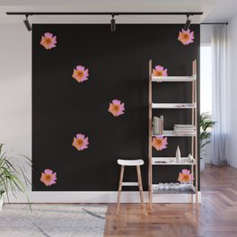 Pink Pansies on Black by Aloha Kea Photography Wall Mural