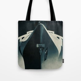 Vintage French Normandie Ocean Liner Graphic Poster Ad Ship Boat Tote Bag