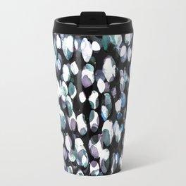 White and blue painted dots pattern Travel Mug