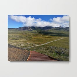 Glacier-View from Halfway up the Stairway at Saxhóll Crater in Iceland Metal Print