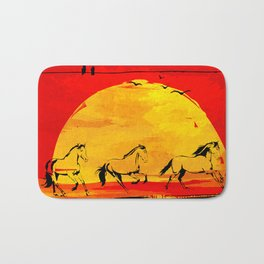 sunset horses Bath Mat