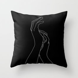 Hands line drawing illustration - Carly Black Throw Pillow