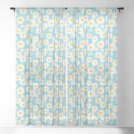 White Daisies Heaven Blue Sheer Curtain