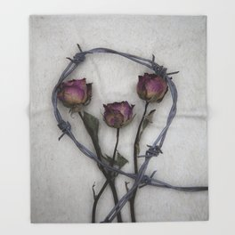 Three dried Roses II Throw Blanket