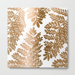 Bronze Metallic Fern Leaves  Metal Print