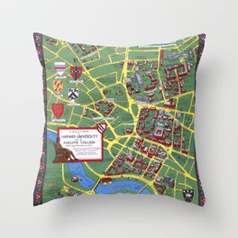 HARVARD University map CAMBRIDGE Throw Pillow