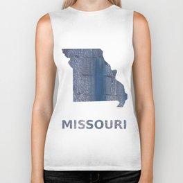 Missouri map outline Slate gray vague watercolor painting Biker Tank