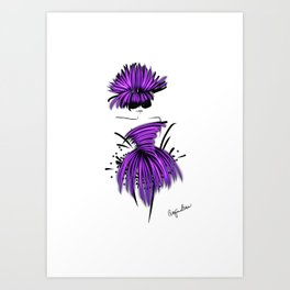 Fashion model enjoying the party in beautiful violet silk couture Art Print