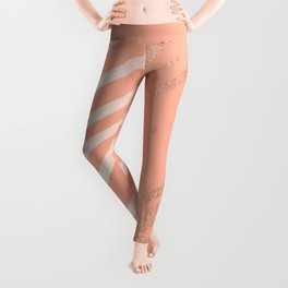 Sweet Life Swipes Peach Coral Shimmer Leggings