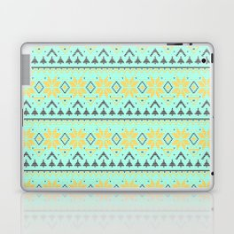 Knitted Christmas pattern turquoise Laptop & iPad Skin