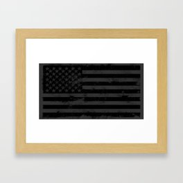 Black American Flag Framed Art Print