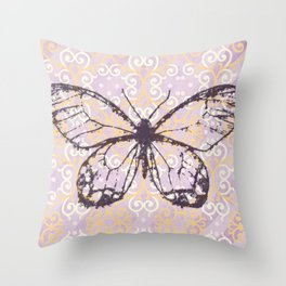 butterfly/motives/colorful/pattern/oldie Throw Pillow