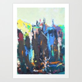 Mountain Village Abstract Painting Art Print