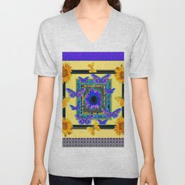 PURPLE BUTTERFLIES SUNFLOWERS MODERN ART Unisex V-Neck