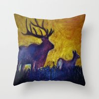 elk Throw Pillows featuring Elk by Michelle Silsbee