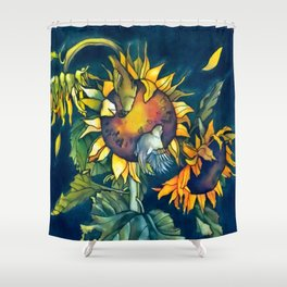 Sunflowers and birds Shower Curtain