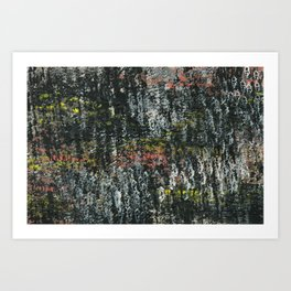 Here & There Abstact Painting - Dark with Pops of Color Art Print