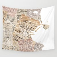 dublin Wall Tapestries featuring Dublin map by Mapsland