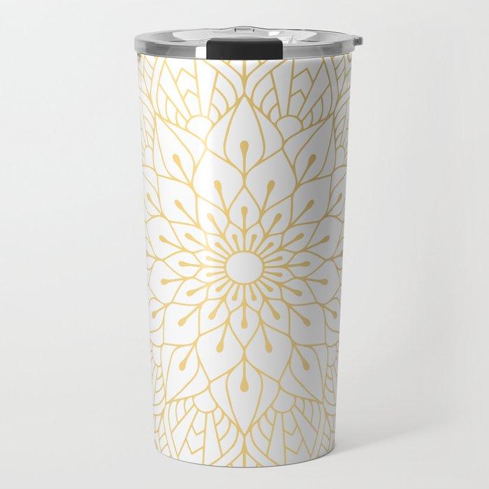 The Golden Mandala Illustration Pattern Travel Mug