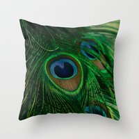 peacock Throw Pillows featuring Peacock by Olivia Joy StClaire