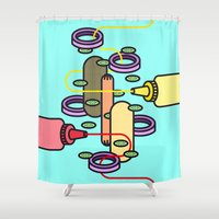 hot dog Shower Curtains featuring Hot dog by Jan Luzar