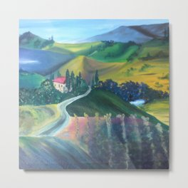 A Vibrant Day in Tuscany Metal Print