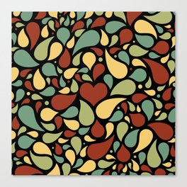 Heart surrounded by drops black pattern Canvas Print