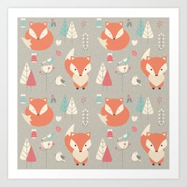 Baby fox pattern 01 Art Print