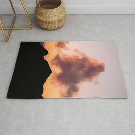 Minimalist Cloud lit up by a Summer Sunset in the Mountains - Landscape Photography Rug