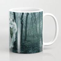 arya stark Mugs featuring Wolf by Julie Hoddinott