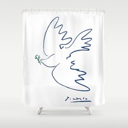 Pablo Picasso Dove Of Peace In Blue 1949 Artwork Reproduction Shower Curtain