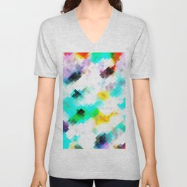psychedelic geometric pixel abstract pattern in blue green yellow pink Unisex V-Neck