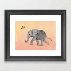 Elephant and the Bird Framed Art Print