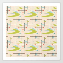 Mid Century Modern in Lime and Blush Art Print
